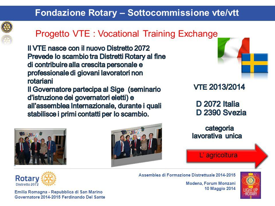 Emilia Romagna - Repubblica di San Marino Governatore 2014-2015 Ferdinando Del Sante Distretto 2072 2 Assemblea di Formazione Distrettuale 2014-2015 M