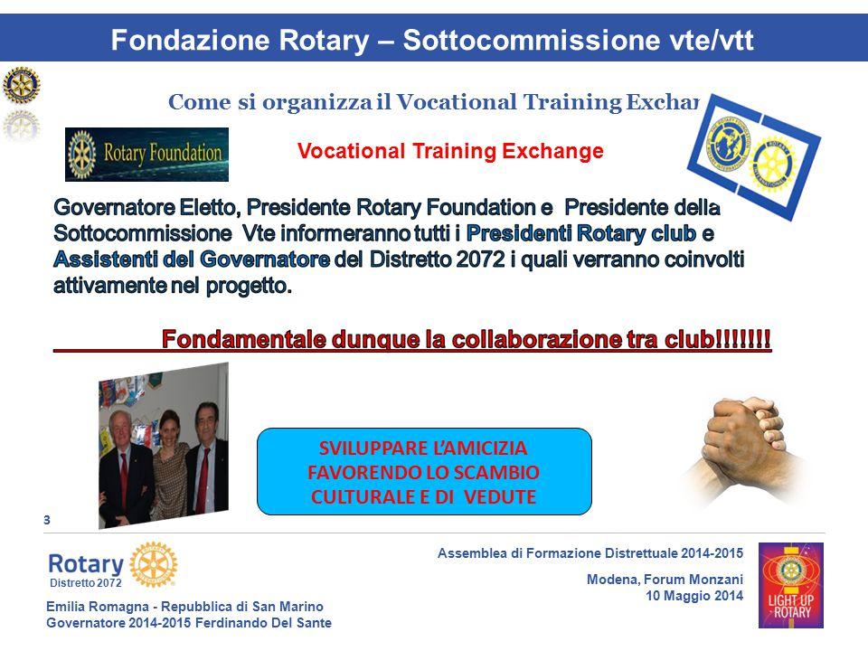 Emilia Romagna - Repubblica di San Marino Governatore 2014-2015 Ferdinando Del Sante Distretto 2072 3 Assemblea di Formazione Distrettuale 2014-2015 M