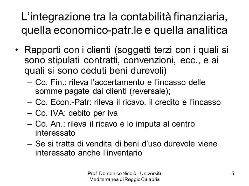 Prof. Domenico Nicolò - Università Mediterranea di Reggio Calabria 5 L'integrazione tra la contabilità finanziaria, quella economico-patr.le e quella