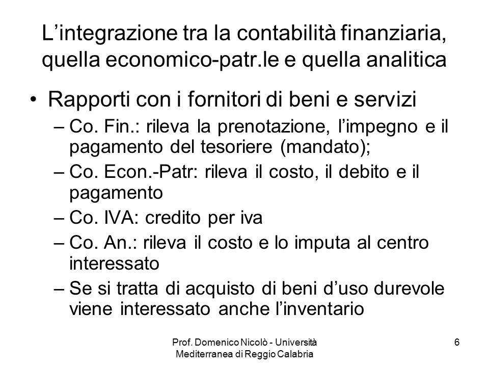 Prof. Domenico Nicolò - Università Mediterranea di Reggio Calabria 6 L'integrazione tra la contabilità finanziaria, quella economico-patr.le e quella