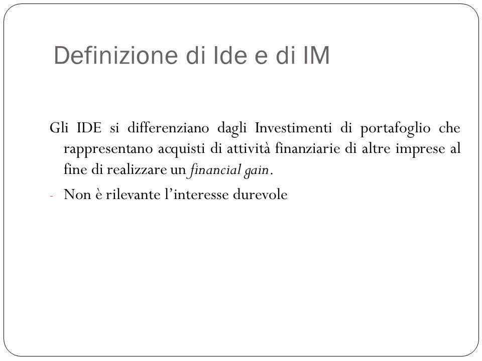 Definizione di Ide e di IM Le statistiche sugli IDE registrano: I Flussi di IDE – l'ammontare di IDE effettuato in un dato tempo Gli Stock di IDE – il valore totale delle attività estere accumulate nel tempo Tali variabili possono essere: in entrata (inward FDI) quando gli IDE sono effettuati nel paese che effettua la rilevazione in uscita (outward FDI) quando gli IDE sono realizzati all'estero dal paese che effettua la rilevazione