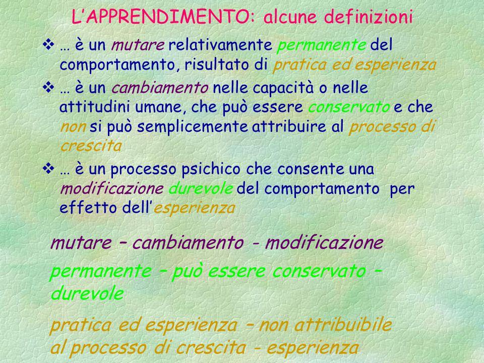 L'APPRENDIMENTO: alcune definizioni  … è un mutare relativamente permanente del comportamento, risultato di pratica ed esperienza  … è un cambiament