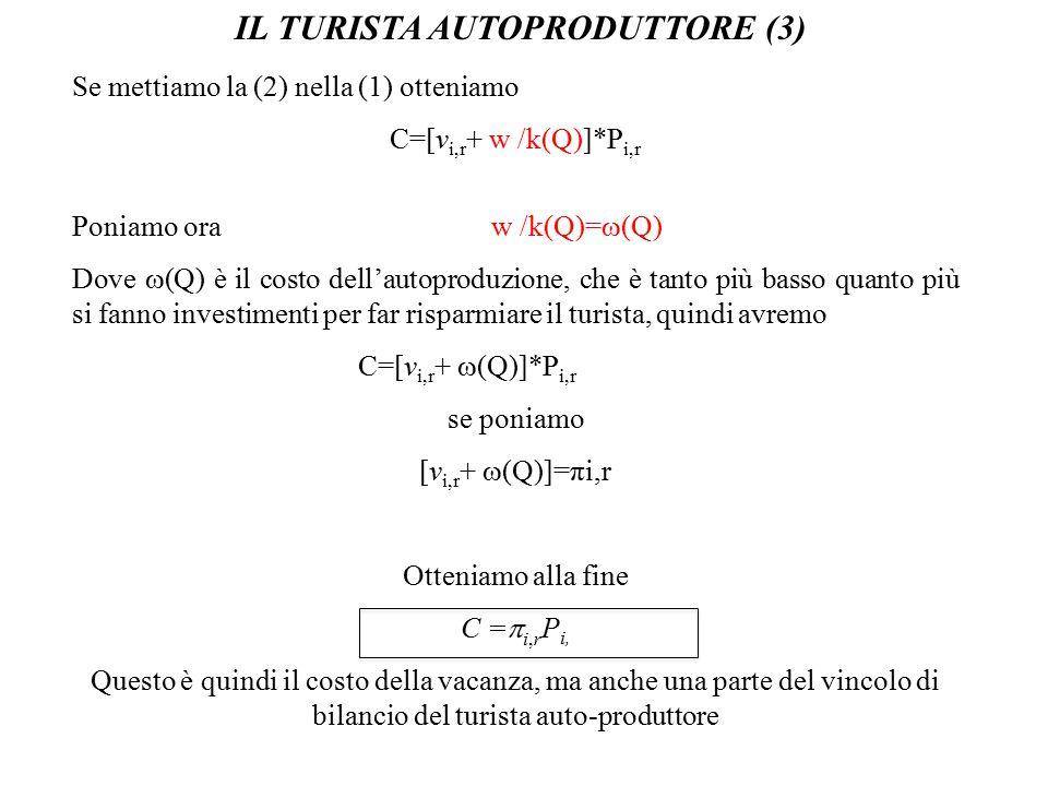 IL TURISTA AUTOPRODUTTORE (4) L'utilità, come visto nella teoria del turista-consumatore a tre stadi, dipende dalla moneta M C per il consumo non turistico e dalla lunghezza della vacanza misurata dalle presenze: Max U(M C, P i,r )= U(M C )+U(P i,r ) s.c.