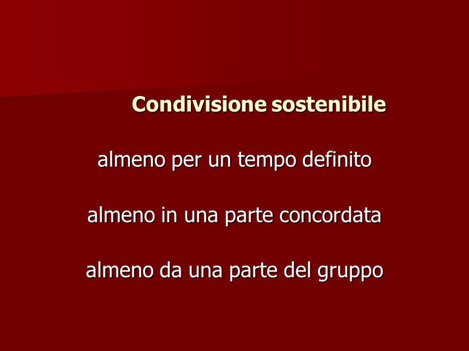 Condivisione sostenibile Condivisione sostenibile almeno per un tempo definito almeno in una parte concordata almeno da una parte del gruppo