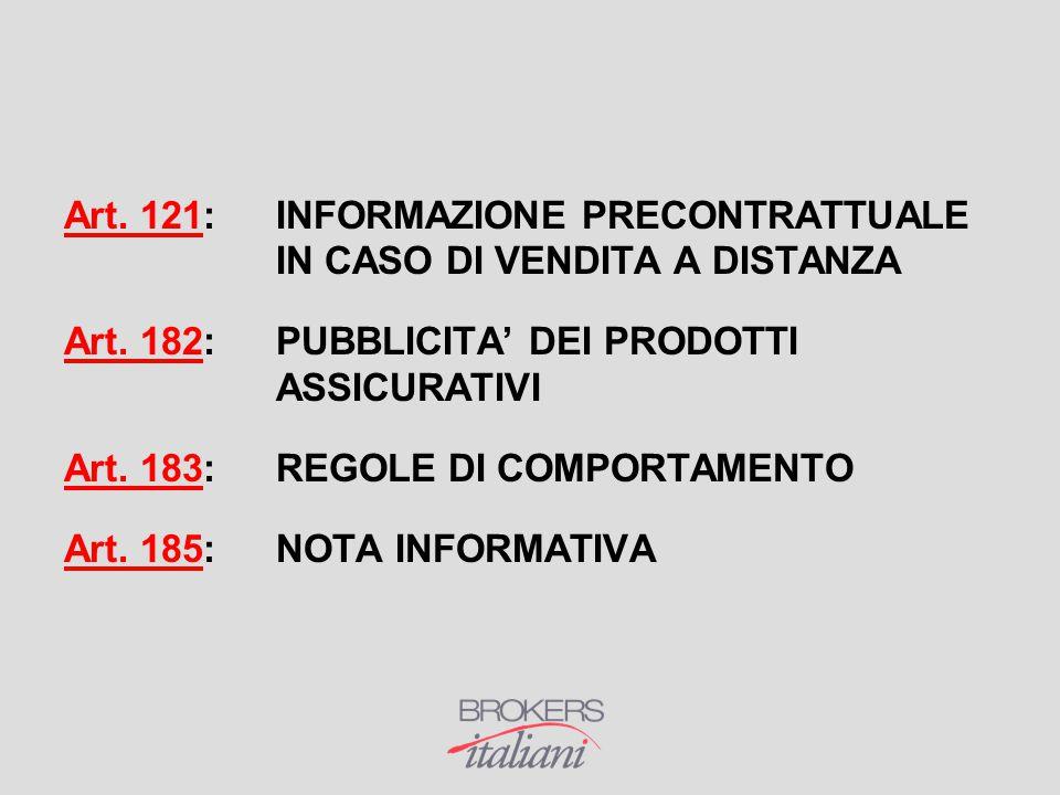 Art. 121:INFORMAZIONE PRECONTRATTUALE IN CASO DI VENDITA A DISTANZA Art. 182: PUBBLICITA' DEI PRODOTTI ASSICURATIVI Art. 183: REGOLE DI COMPORTAMENTO