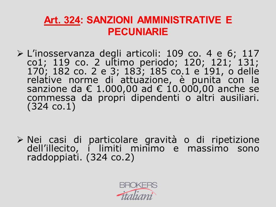 Art. 324: SANZIONI AMMINISTRATIVE E PECUNIARIE  L'inosservanza degli articoli: 109 co. 4 e 6; 117 co1; 119 co. 2 ultimo periodo; 120; 121; 131; 170;