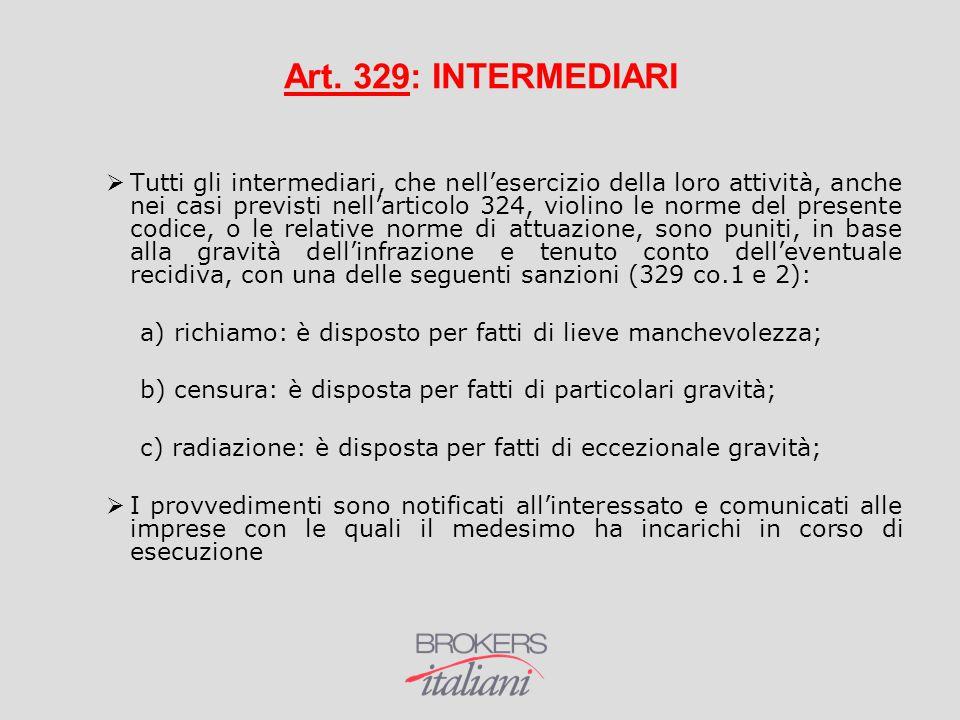 Art. 329: INTERMEDIARI  Tutti gli intermediari, che nell'esercizio della loro attività, anche nei casi previsti nell'articolo 324, violino le norme d