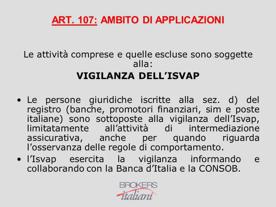ART. 107: AMBITO DI APPLICAZIONI Le attività comprese e quelle escluse sono soggette alla: VIGILANZA DELL'ISVAP Le persone giuridiche iscritte alla se