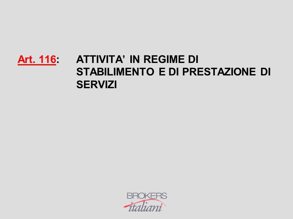 Art. 116: ATTIVITA' IN REGIME DI STABILIMENTO E DI PRESTAZIONE DI SERVIZI