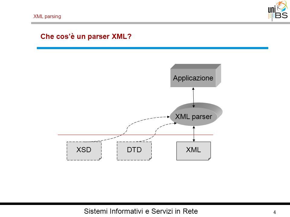 4 XML parsing Sistemi Informativi e Servizi in Rete Che cos'è un parser XML.