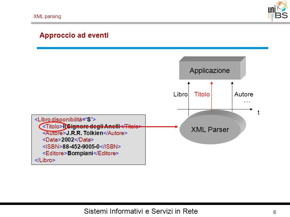 6 XML parsing Sistemi Informativi e Servizi in Rete Approccio ad eventi Il Signore degli Anelli J.R.R.