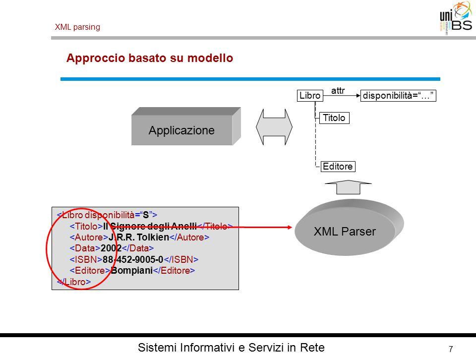 7 XML parsing Sistemi Informativi e Servizi in Rete Approccio basato su modello Il Signore degli Anelli J.R.R.