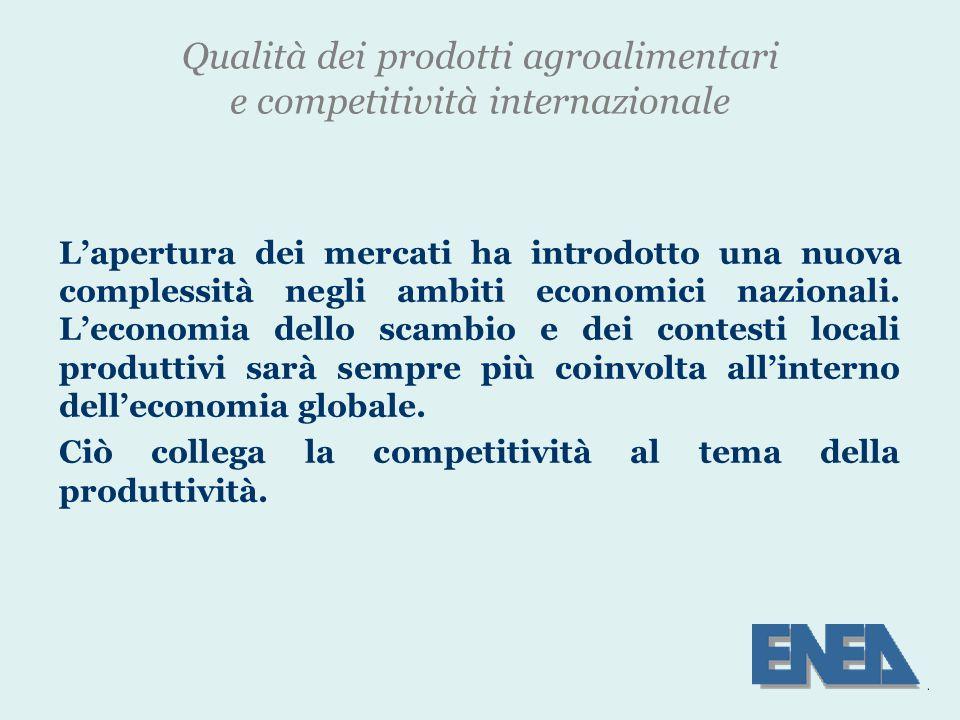 Qualità dei prodotti agroalimentari e competitività internazionale L'apertura dei mercati ha introdotto una nuova complessità negli ambiti economici nazionali.