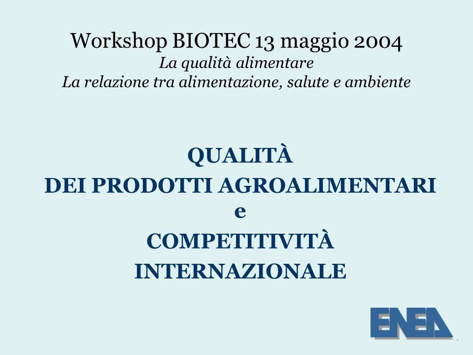 Workshop BIOTEC 13 maggio 2004 La qualità alimentare La relazione tra alimentazione, salute e ambiente QUALITÀ DEI PRODOTTI AGROALIMENTARI e COMPETITIVITÀ INTERNAZIONALE