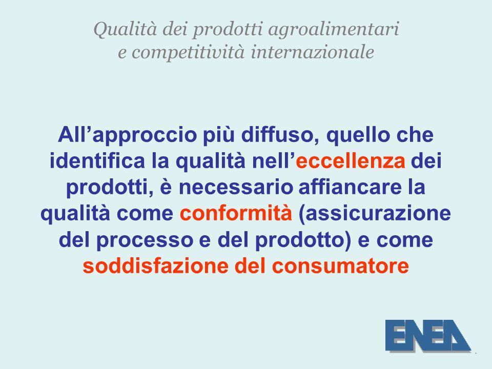 Qualità dei prodotti agroalimentari e competitività internazionale All'approccio più diffuso, quello che identifica la qualità nell'eccellenza dei prodotti, è necessario affiancare la qualità come conformità (assicurazione del processo e del prodotto) e come soddisfazione del consumatore