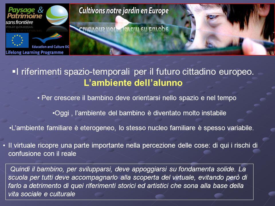  I riferimenti spazio-temporali per il futuro cittadino europeo.