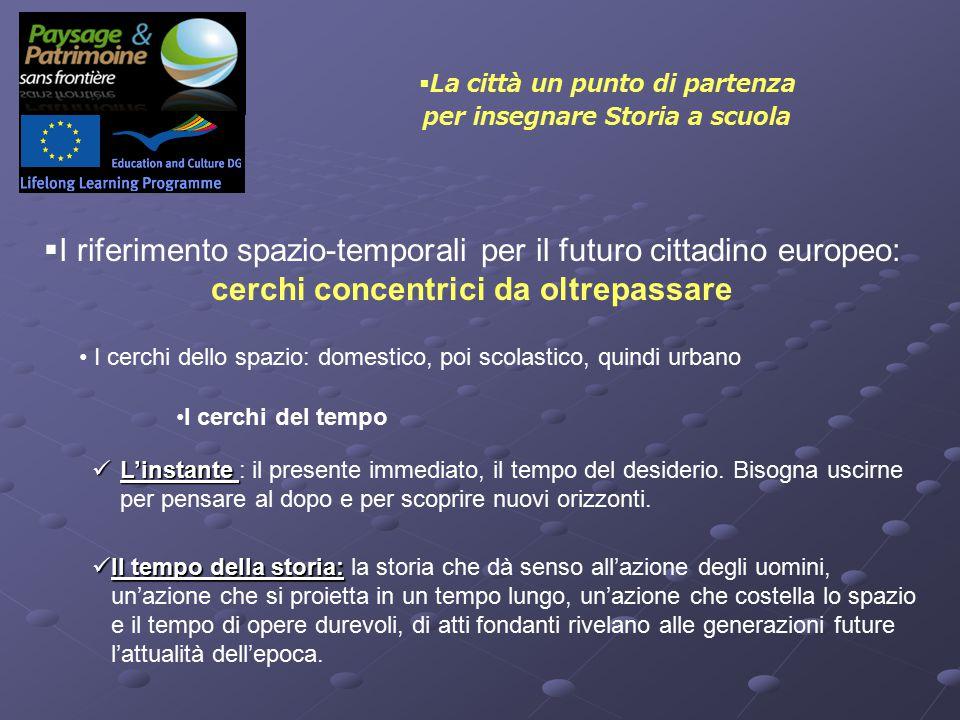  I riferimento spazio-temporali per il futuro cittadino europeo: cerchi concentrici da oltrepassare I cerchi dello spazio: domestico, poi scolastico, quindi urbano I cerchi del tempo L'instante L'instante : il presente immediato, il tempo del desiderio.