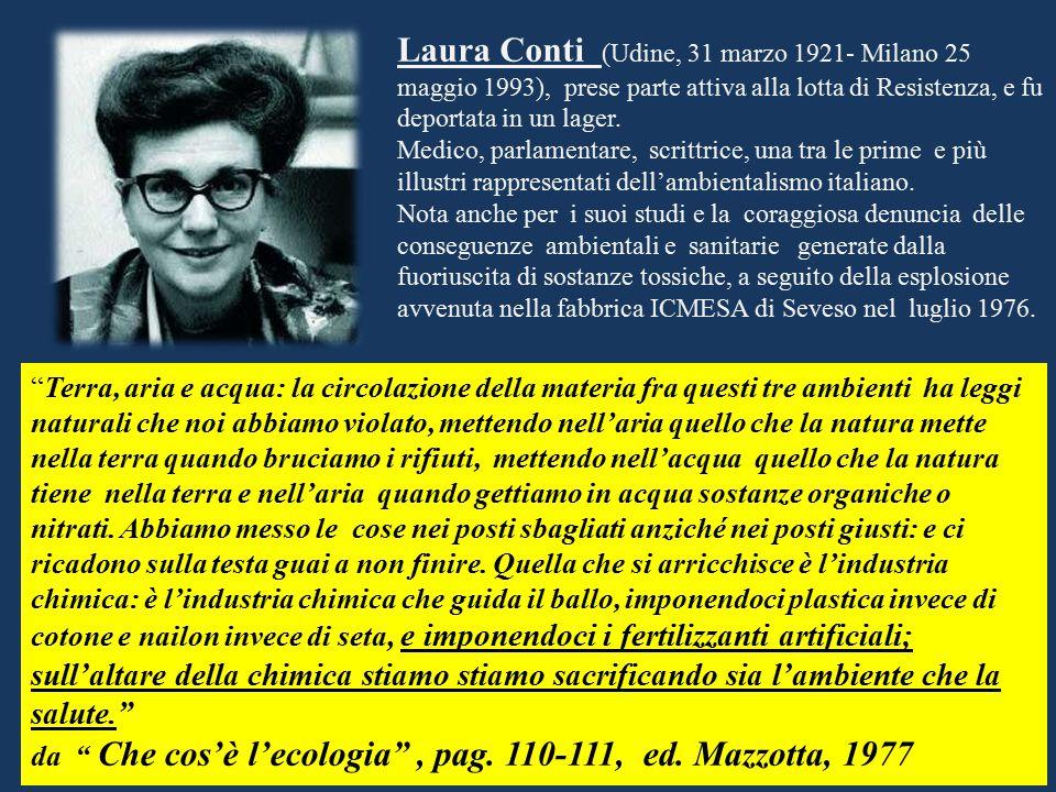 Laura Conti (Udine, 31 marzo 1921- Milano 25 maggio 1993), prese parte attiva alla lotta di Resistenza, e fu deportata in un lager.