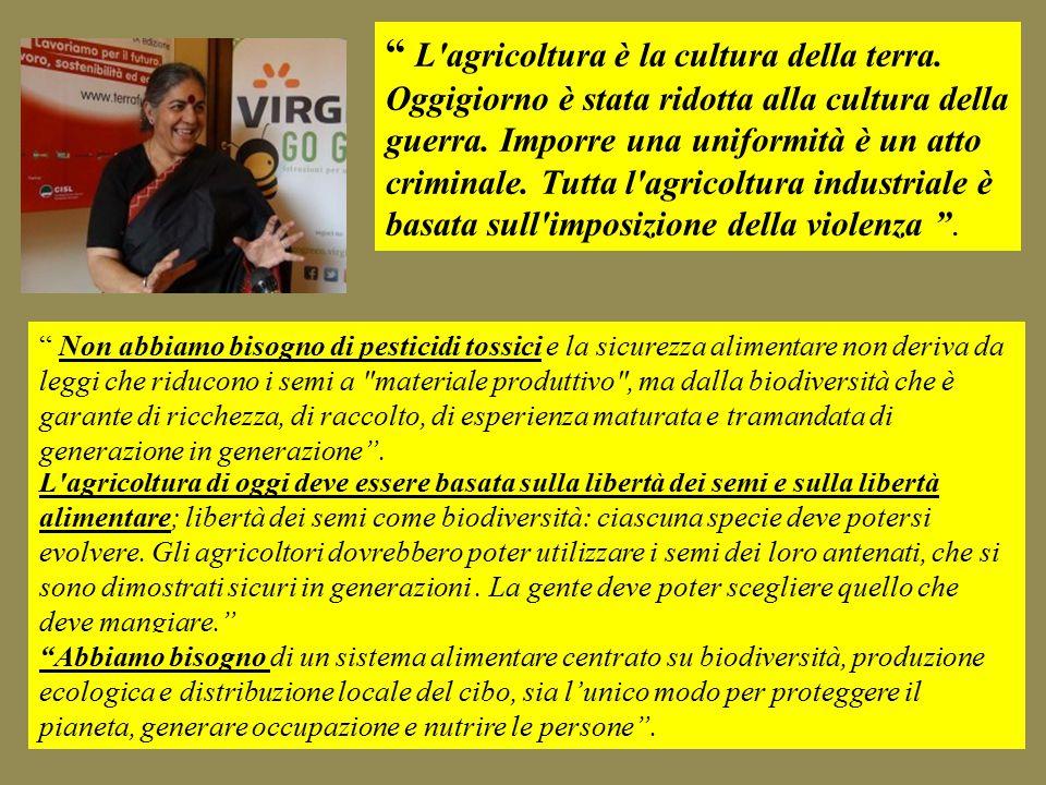 L agricoltura è la cultura della terra. Oggigiorno è stata ridotta alla cultura della guerra.
