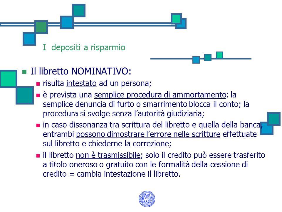 I depositi a risparmio Il libretto NOMINATIVO: risulta intestato ad un persona; è prevista una semplice procedura di ammortamento: la semplice denunci