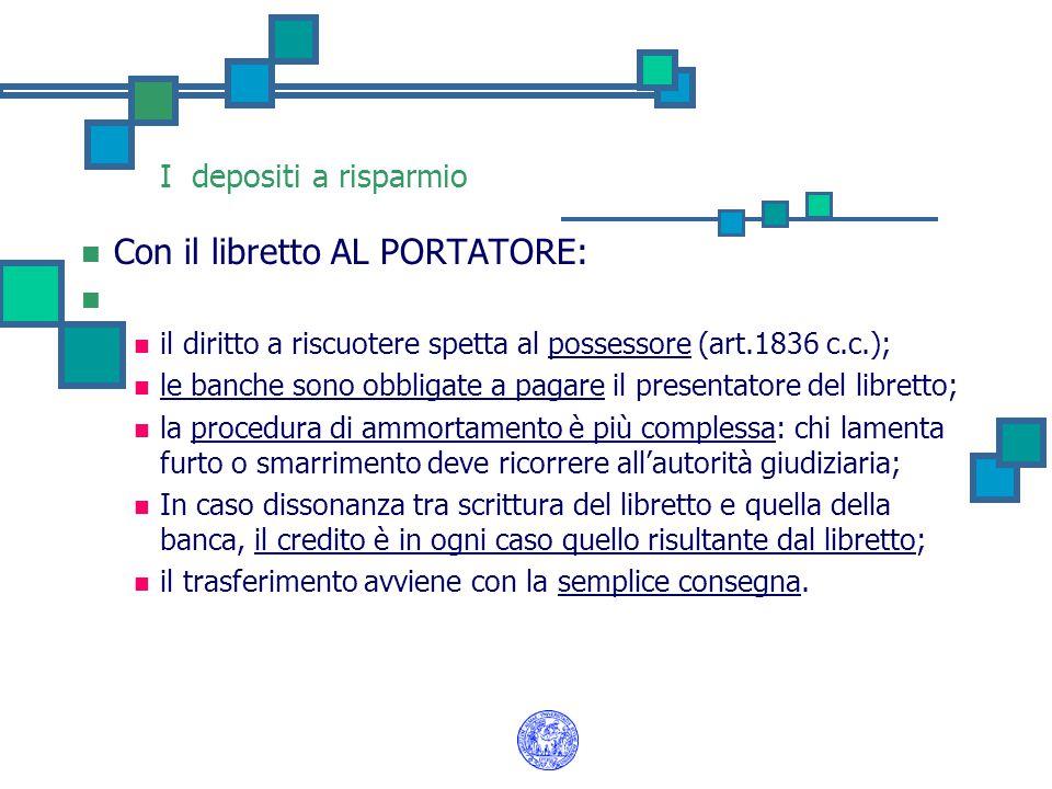 I depositi a risparmio Con il libretto AL PORTATORE: il diritto a riscuotere spetta al possessore (art.1836 c.c.); le banche sono obbligate a pagare i