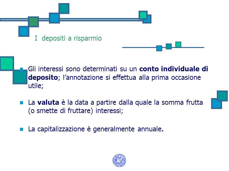 I depositi a risparmio Gli interessi sono determinati su un conto individuale di deposito; l'annotazione si effettua alla prima occasione utile; La valuta è la data a partire dalla quale la somma frutta (o smette di fruttare) interessi; La capitalizzazione è generalmente annuale.
