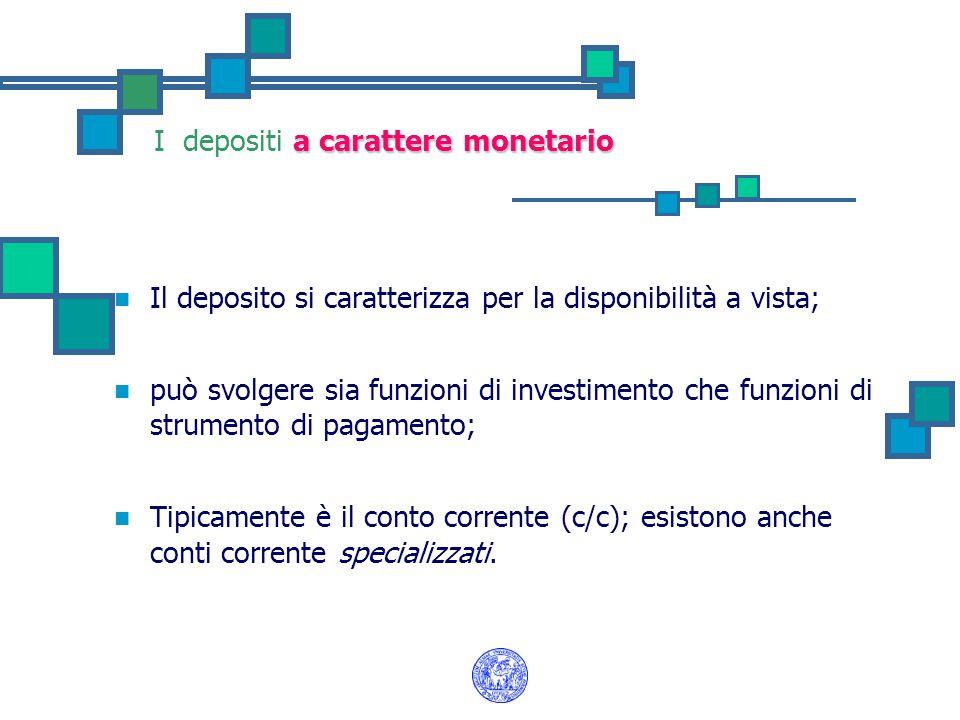 a carattere monetario I depositi a carattere monetario Il deposito si caratterizza per la disponibilità a vista; può svolgere sia funzioni di investimento che funzioni di strumento di pagamento; Tipicamente è il conto corrente (c/c); esistono anche conti corrente specializzati.