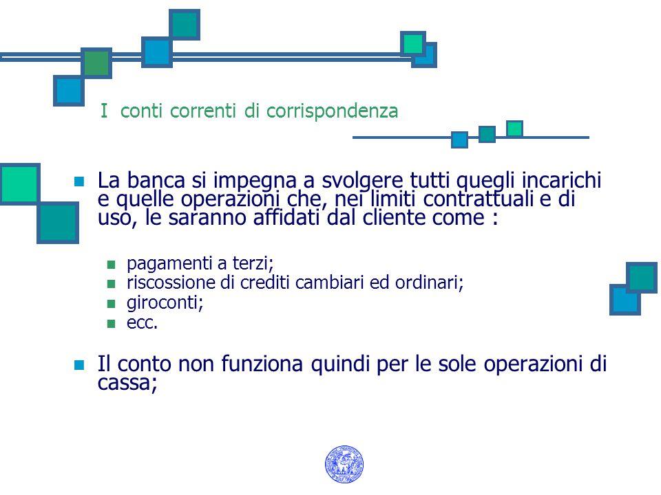 I conti correnti di corrispondenza La banca si impegna a svolgere tutti quegli incarichi e quelle operazioni che, nei limiti contrattuali e di uso, le