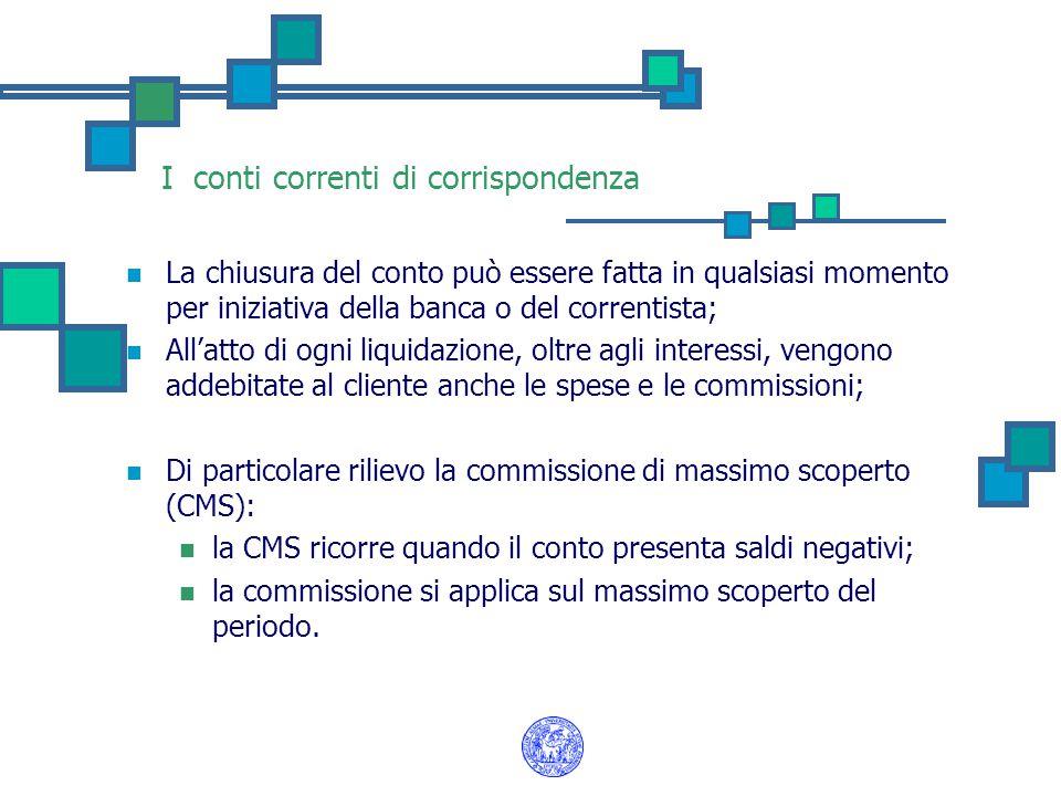 I conti correnti di corrispondenza La chiusura del conto può essere fatta in qualsiasi momento per iniziativa della banca o del correntista; All'atto