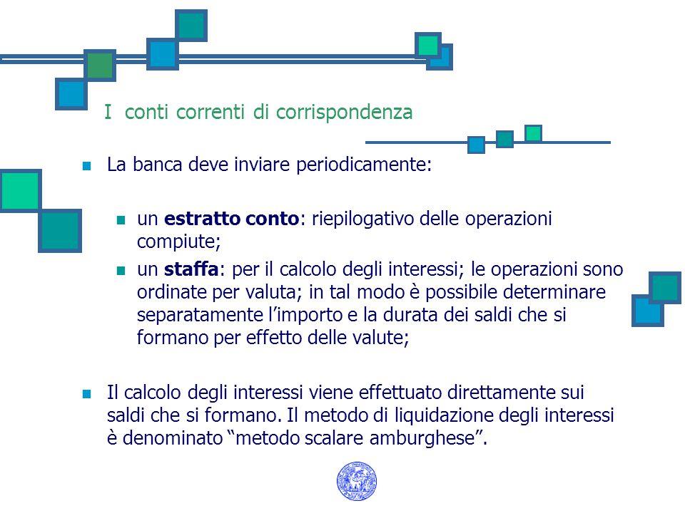 I conti correnti di corrispondenza La banca deve inviare periodicamente: un estratto conto: riepilogativo delle operazioni compiute; un staffa: per il