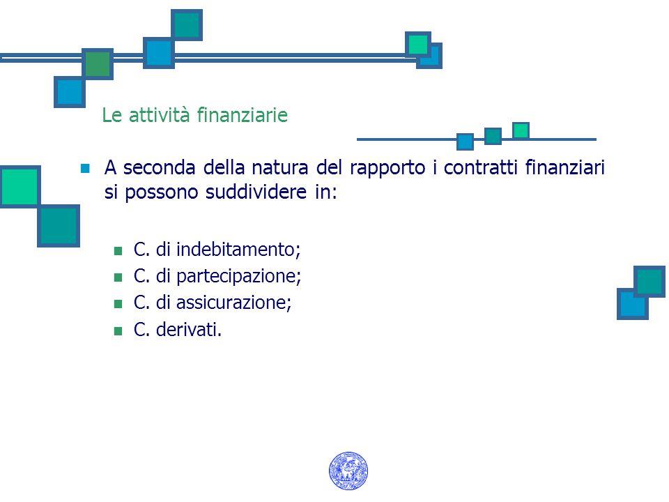 Le attività finanziarie A seconda della natura del rapporto i contratti finanziari si possono suddividere in: C. di indebitamento; C. di partecipazion
