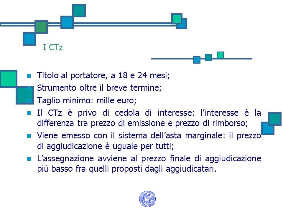 I CTz Titolo al portatore, a 18 e 24 mesi; Strumento oltre il breve termine; Taglio minimo: mille euro; Il CTz è privo di cedola di interesse: l'inter