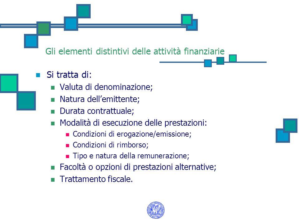 Gli elementi distintivi delle attività finanziarie Si tratta di: Valuta di denominazione; Natura dell'emittente; Durata contrattuale; Modalità di esec