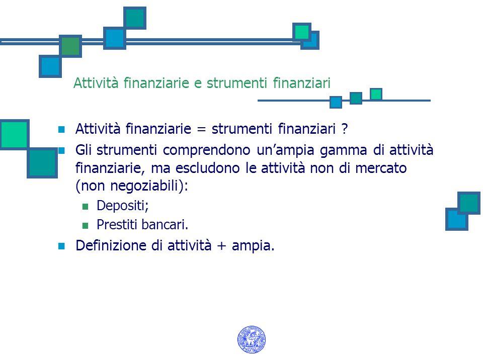Attività finanziarie e strumenti finanziari Attività finanziarie = strumenti finanziari ? Gli strumenti comprendono un'ampia gamma di attività finanzi
