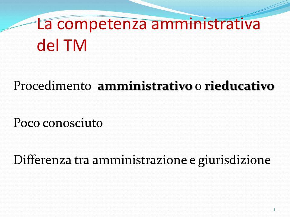 La competenza amministrativa del TM amministrativo rieducativo Procedimento amministrativo o rieducativo Poco conosciuto Differenza tra amministrazion
