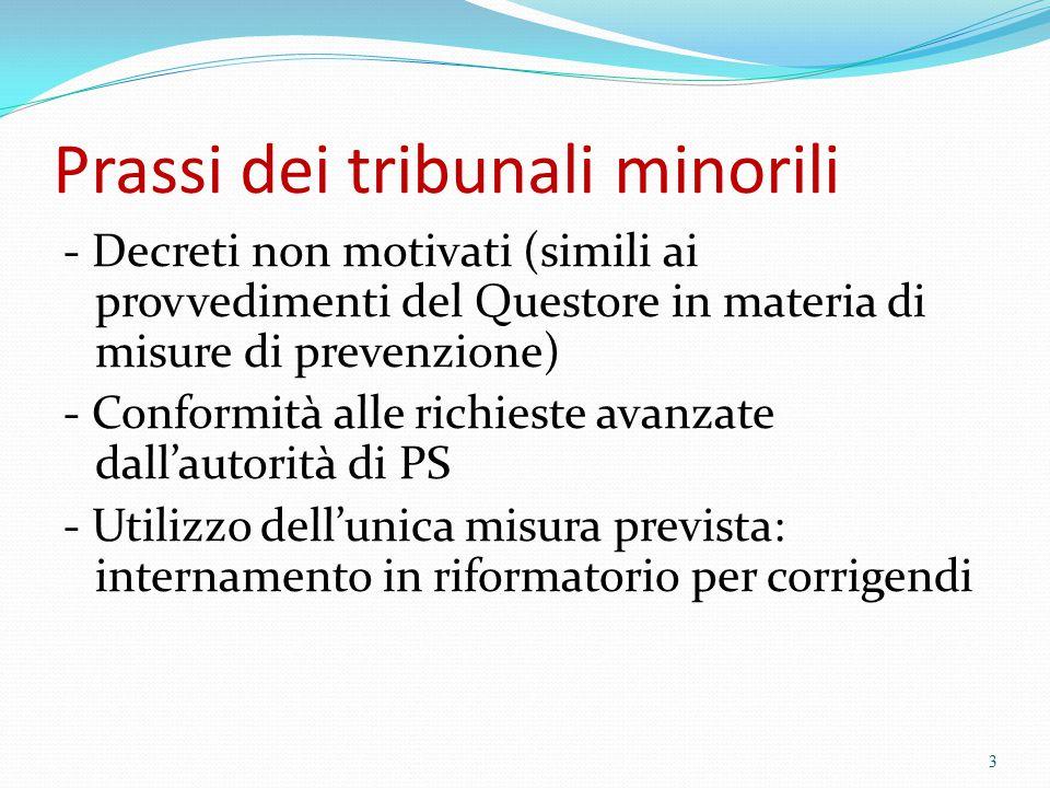 Prassi dei tribunali minorili - Decreti non motivati (simili ai provvedimenti del Questore in materia di misure di prevenzione) - Conformità alle rich