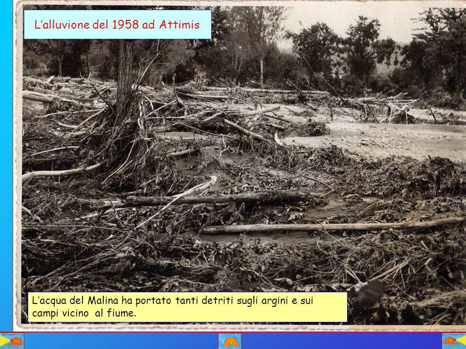L'alluvione del 1958 ad Attimis L'acqua del Malina ha portato tanti detriti sugli argini e sui campi vicino al fiume.