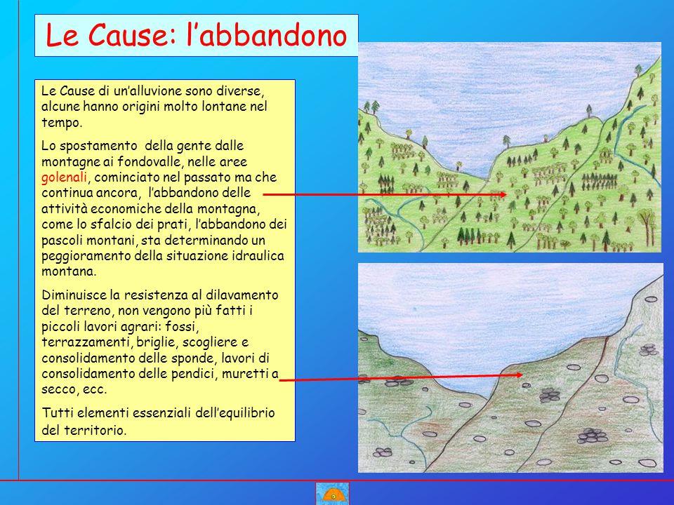 Le Cause di un'alluvione sono diverse, alcune hanno origini molto lontane nel tempo. Lo spostamento della gente dalle montagne ai fondovalle, nelle ar