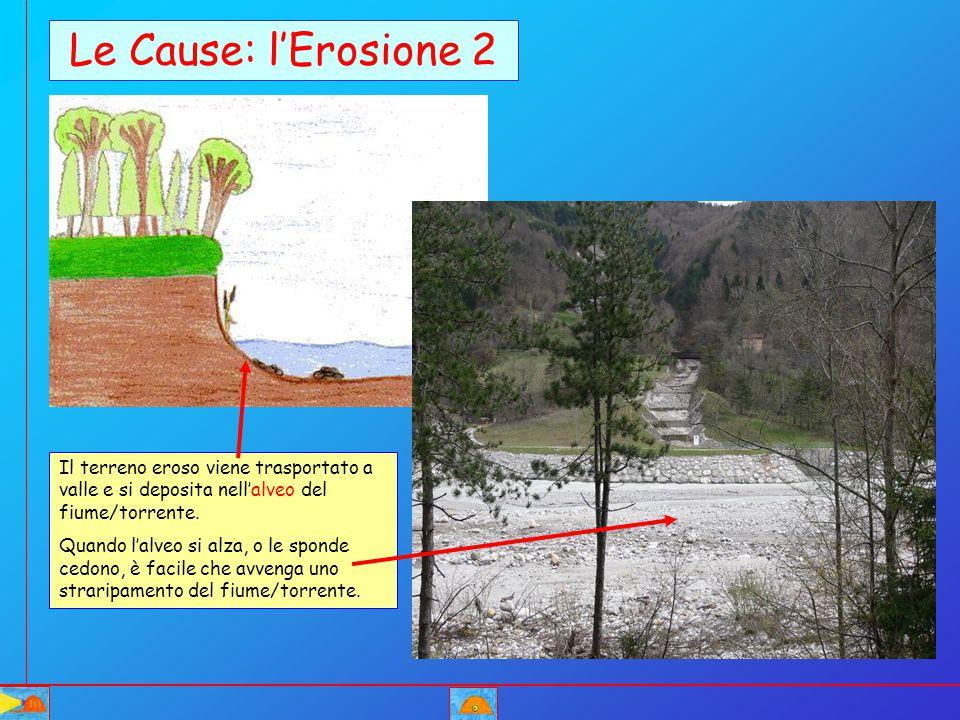Le Cause: l'Erosione 2 Il terreno eroso viene trasportato a valle e si deposita nell'alveo del fiume/torrente. Quando l'alveo si alza, o le sponde ced