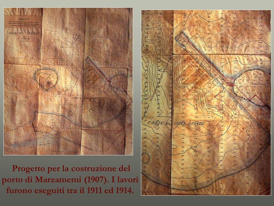 Pachino. Colonna egiziana in granito recuperata il 18 giugno 1913 da Paolo Orsi a Marzamemi.