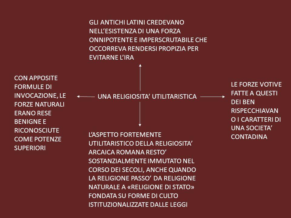 UNA RELIGIOSITA' UTILITARISTICA GLI ANTICHI LATINI CREDEVANO NELL'ESISTENZA DI UNA FORZA ONNIPOTENTE E IMPERSCRUTABILE CHE OCCORREVA RENDERSI PROPIZIA PER EVITARNE L'IRA CON APPOSITE FORMULE DI INVOCAZIONE, LE FORZE NATURALI ERANO RESE BENIGNE E RICONOSCIUTE COME POTENZE SUPERIORI LE FORZE VOTIVE FATTE A QUESTI DEI BEN RISPECCHIAVAN O I CARATTERI DI UNA SOCIETA' CONTADINA L'ASPETTO FORTEMENTE UTILITARISTICO DELLA RELIGIOSITA' ARCAICA ROMANA RESTO' SOSTANZIALMENTE IMMUTATO NEL CORSO DEI SECOLI, ANCHE QUANDO LA RELIGIONE PASSO' DA RELIGIONE NATURALE A «RELIGIONE DI STATO» FONDATA SU FORME DI CULTO ISTITUZIONALIZZATE DALLE LEGGI