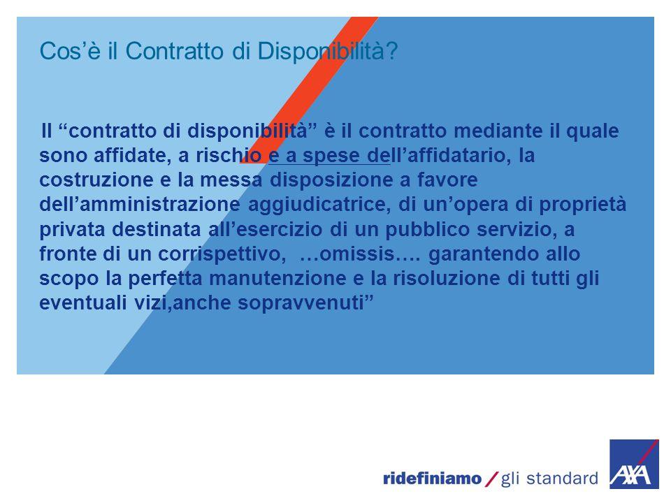 """Cos'è il Contratto di Disponibilità? Il """"contratto di disponibilità"""" è il contratto mediante il quale sono affidate, a rischio e a spese dell'affidata"""