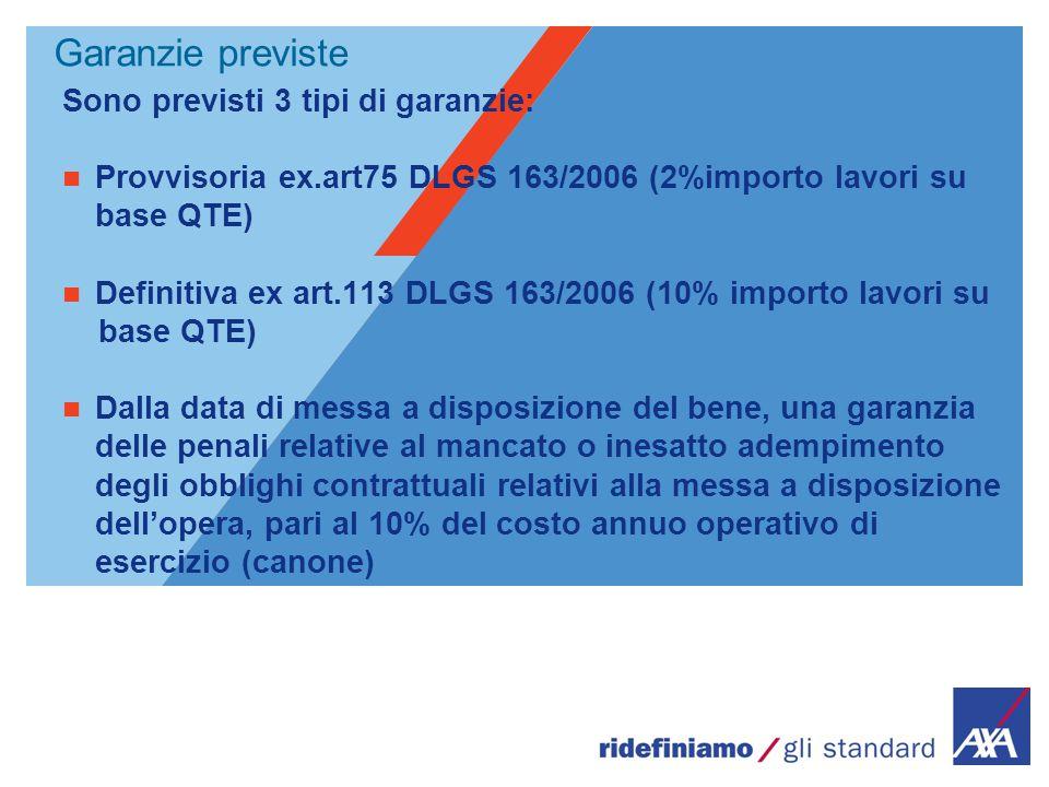 Garanzie previste Sono previsti 3 tipi di garanzie: Provvisoria ex.art75 DLGS 163/2006 (2%importo lavori su base QTE) Definitiva ex art.113 DLGS 163/2