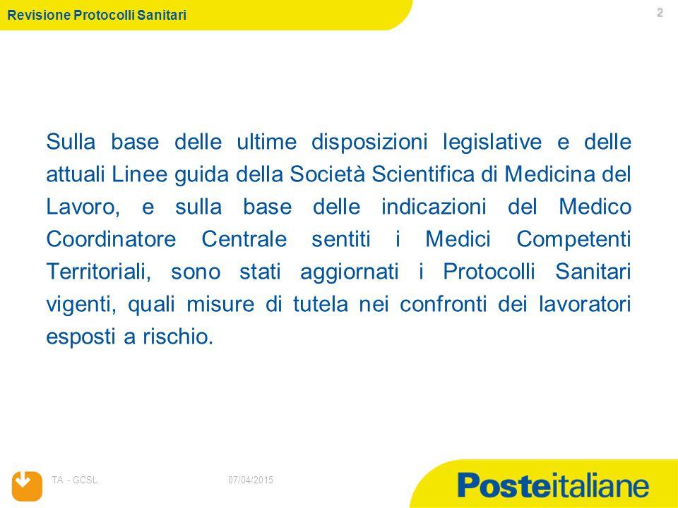 07/04/2015 TA - GCSL 2 07/04/2015 Sulla base delle ultime disposizioni legislative e delle attuali Linee guida della Società Scientifica di Medicina d