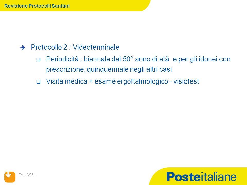 07/04/2015 TA - GCSL Revisione Protocolli Sanitari Protocollo 2 : Videoterminale  Periodicità : biennale dal 50° anno di età e per gli idonei con prescrizione; quinquennale negli altri casi  Visita medica + esame ergoftalmologico - visiotest