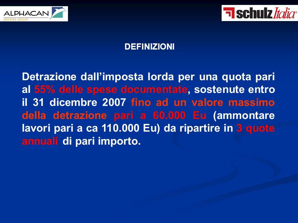 Detrazione dall'imposta lorda per una quota pari al 55% delle spese documentate, sostenute entro il 31 dicembre 2007 fino ad un valore massimo della d