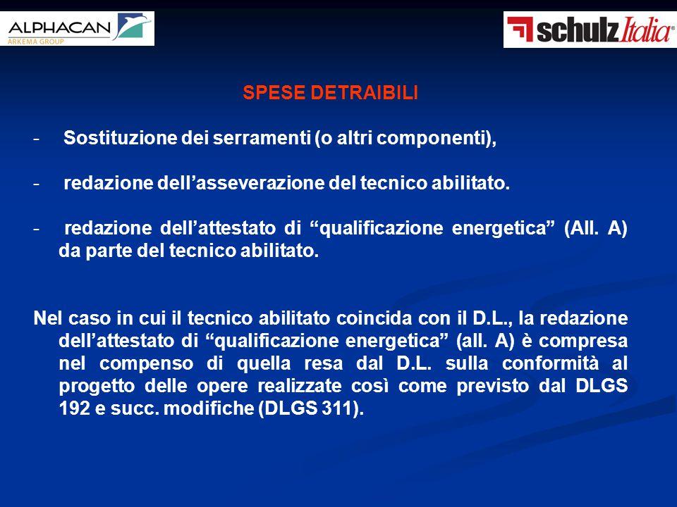 SPESE DETRAIBILI - Sostituzione dei serramenti (o altri componenti), - redazione dell'asseverazione del tecnico abilitato. - redazione dell'attestato