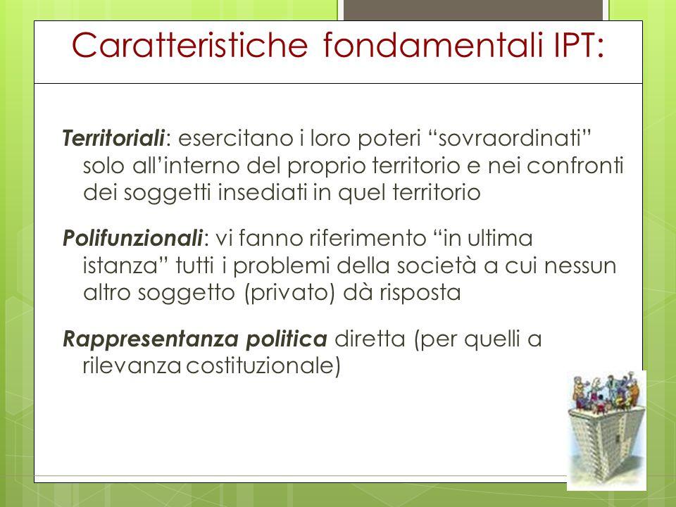 """Caratteristiche fondamentali IPT: Territoriali : esercitano i loro poteri """"sovraordinati"""" solo all'interno del proprio territorio e nei confronti dei"""