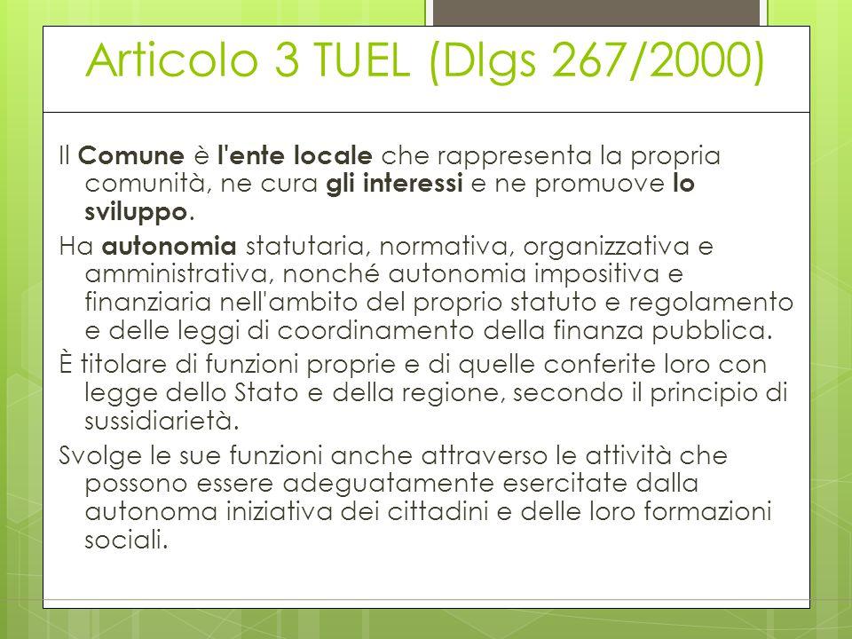 Articolo 3 TUEL (Dlgs 267/2000) Il Comune è l'ente locale che rappresenta la propria comunità, ne cura gli interessi e ne promuove lo sviluppo. Ha aut