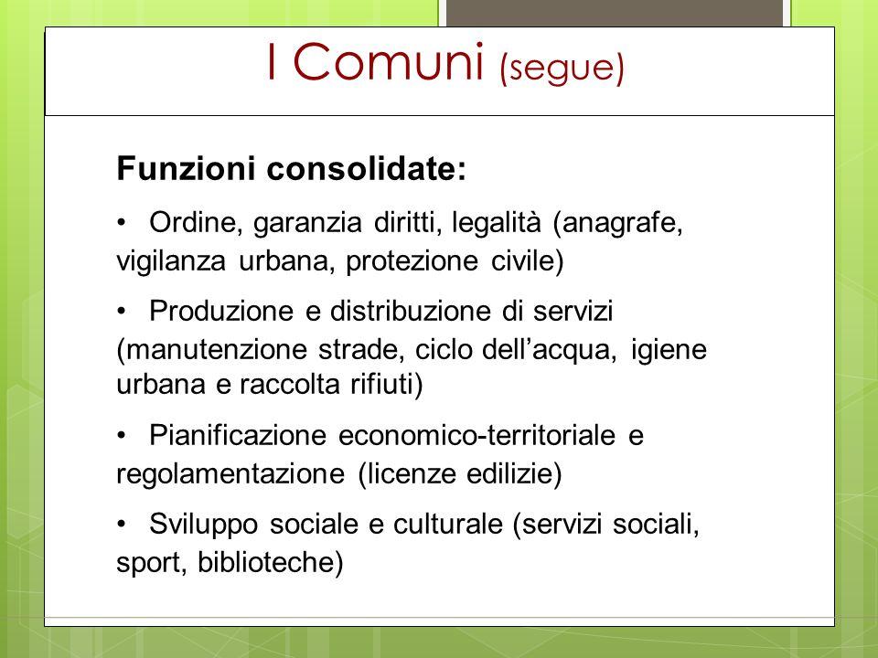 I Comuni (segue) Funzioni consolidate: Ordine, garanzia diritti, legalità (anagrafe, vigilanza urbana, protezione civile) Produzione e distribuzione d